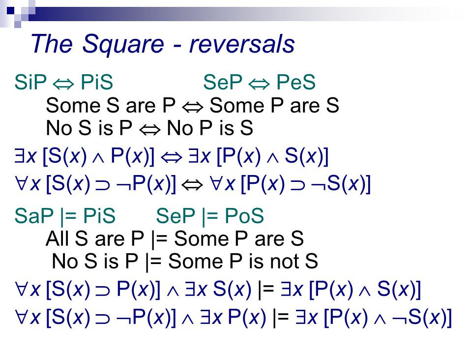 The Square - reversals SiP  PiSSeP  PeS Some S are P  Some P are S No S is P  No P is S  x [S(x)  P(x)]   x [P(x)  S(x)]  x [S(x)   P(x)]