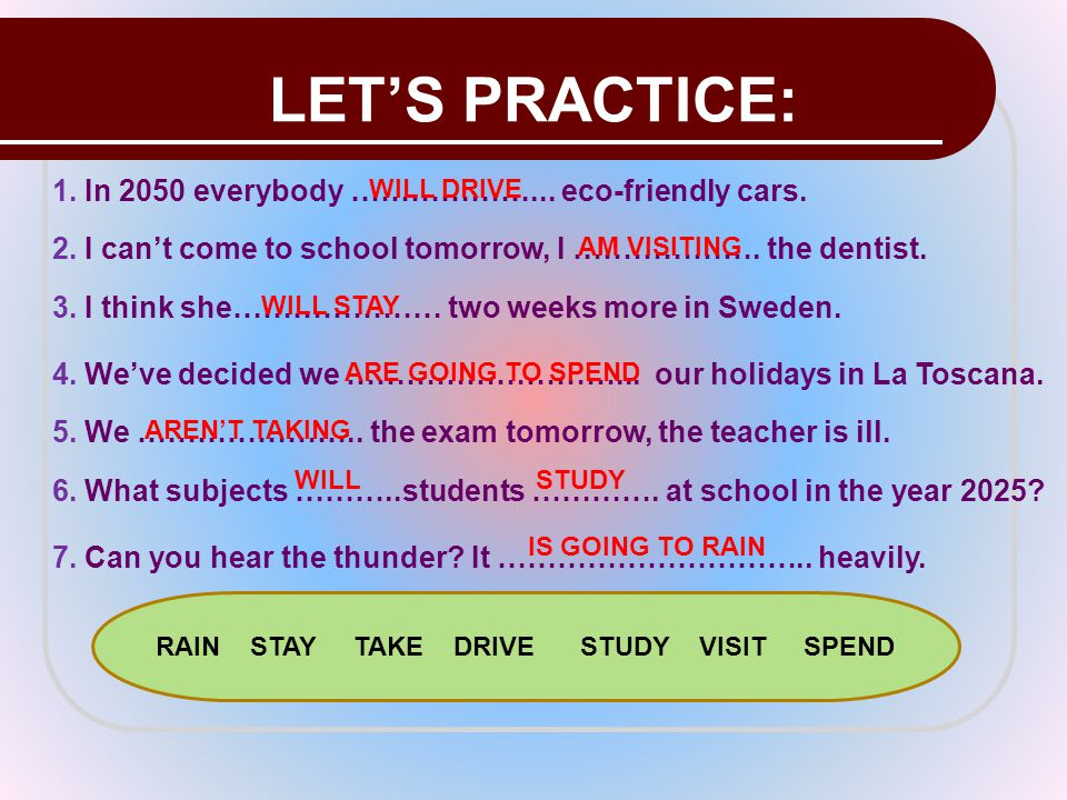 LET'S PRACTICE: 1. In 2050 everybody ………………... eco-friendly cars. WILL DRIVE 2. I can't come to school tomorrow, I ………………. the dentist. AM VISITING 3.
