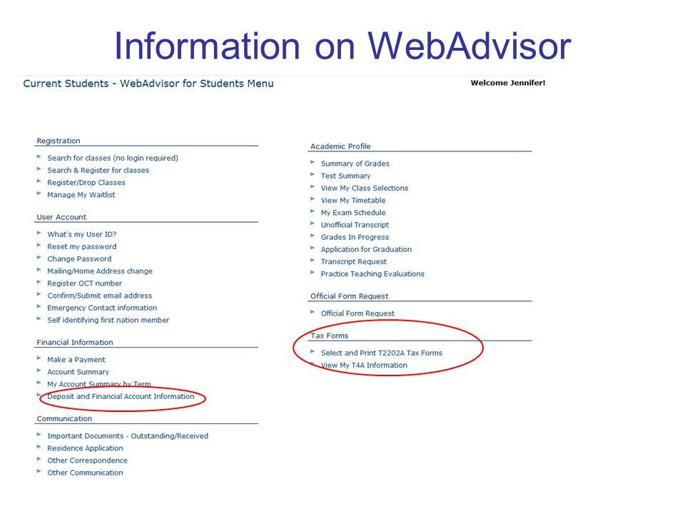 Information on WebAdvisor