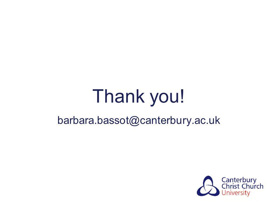 Thank you! barbara.bassot@canterbury.ac.uk