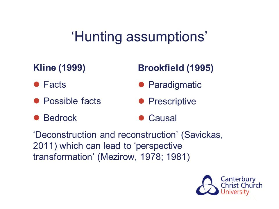 'Hunting assumptions' Kline (1999) Facts Possible facts Bedrock 'Deconstruction and reconstruction' (Savickas, 2011) which can lead to 'perspective transformation' (Mezirow, 1978; 1981) Brookfield (1995) Paradigmatic Prescriptive Causal