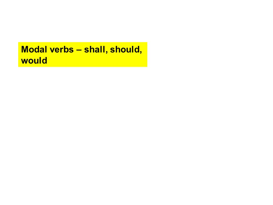 Modal verbs – shall, should, would