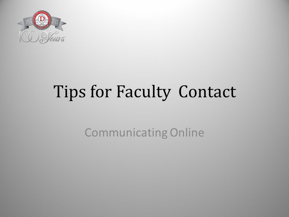 Tips for Faculty Contact Communicating Online