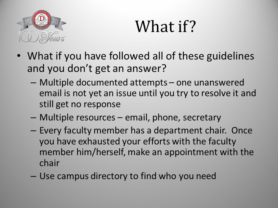 What if. What if you have followed all of these guidelines and you don't get an answer.