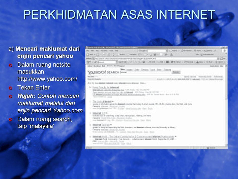 © 2002 By Default! A Free sample background from www.awesomebackgrounds.com Slide 28 PERKHIDMATAN ASAS INTERNET a) Mencari maklumat dari enjin pencari