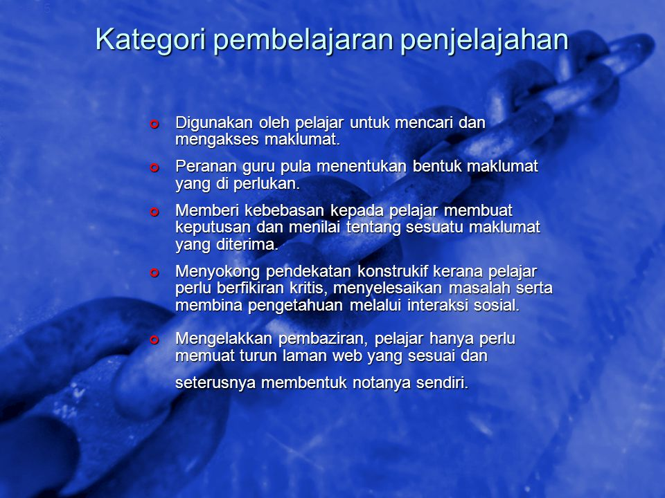 © 2002 By Default! A Free sample background from www.awesomebackgrounds.com Slide 55 Kategori pembelajaran penjelajahan Digunakan oleh pelajar untuk m