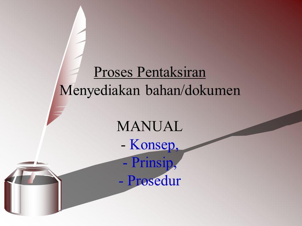 Proses Pentaksiran Menyediakan bahan/dokumen MANUAL - Konsep, - Prinsip, - Prosedur