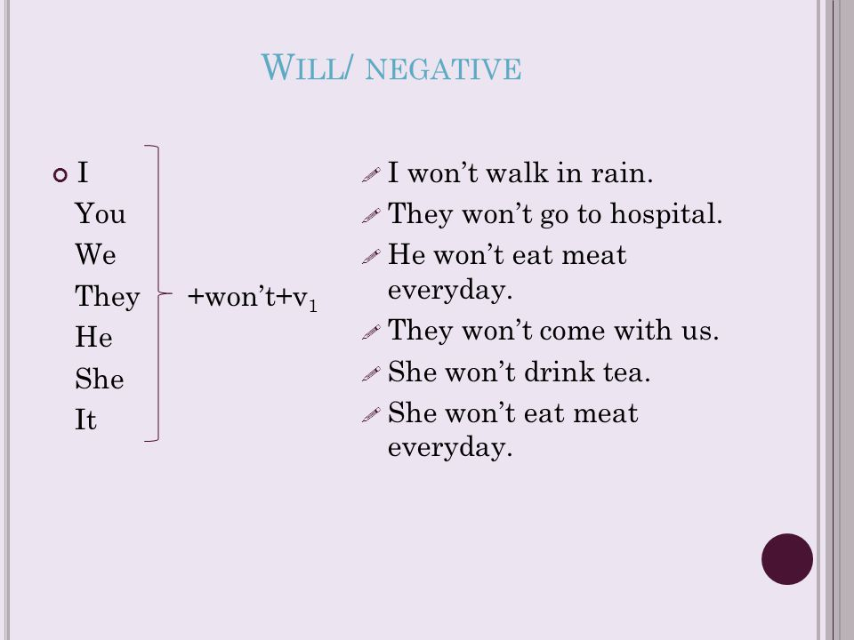W ILL / NEGATIVE I You We They +won't+v 1 He She It  I won't walk in rain.  They won't go to hospital.  He won't eat meat everyday.  They won't co