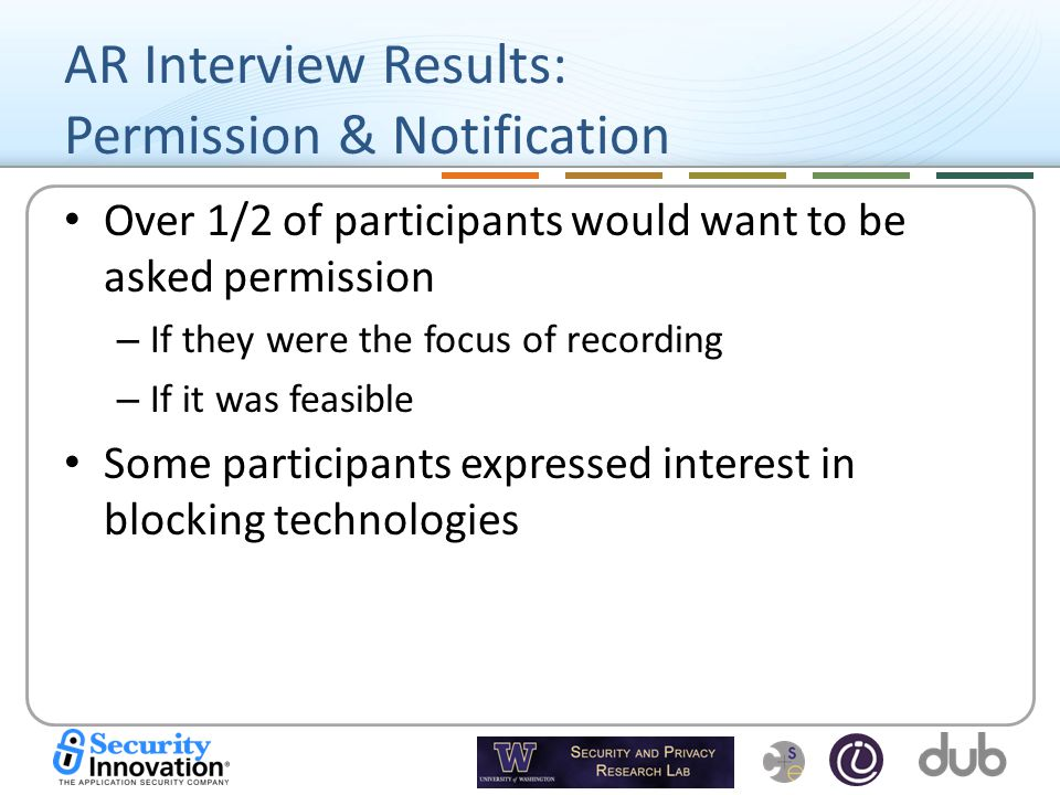 AR Interview Results: Permission & Notification Over 1/2 of participants would want to be asked permission – If they were the focus of recording – If it was feasible Some participants expressed interest in blocking technologies