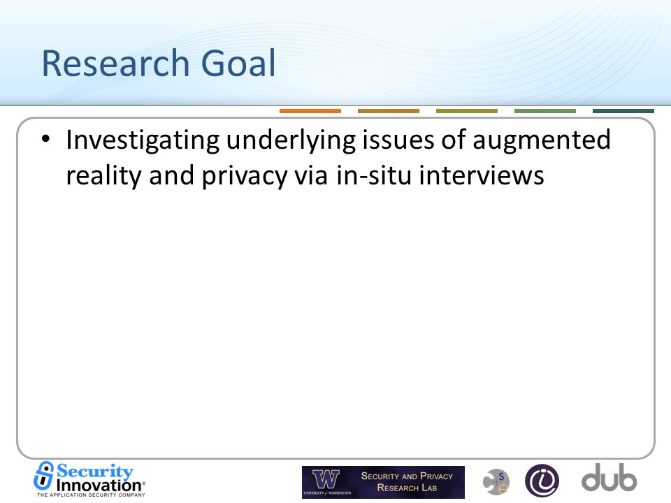 Research Goal Investigating underlying issues of augmented reality and privacy via in-situ interviews