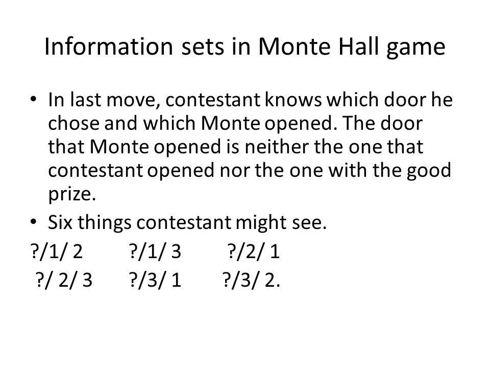 Information sets {1/1/2, 3/1/2} {1/2/3, 2/2/3} {1/3/2, 3/3/2} {2/1/3, 1/1/3} {2/2/1, 3/2/1} {2/3/1, 3/3/1}