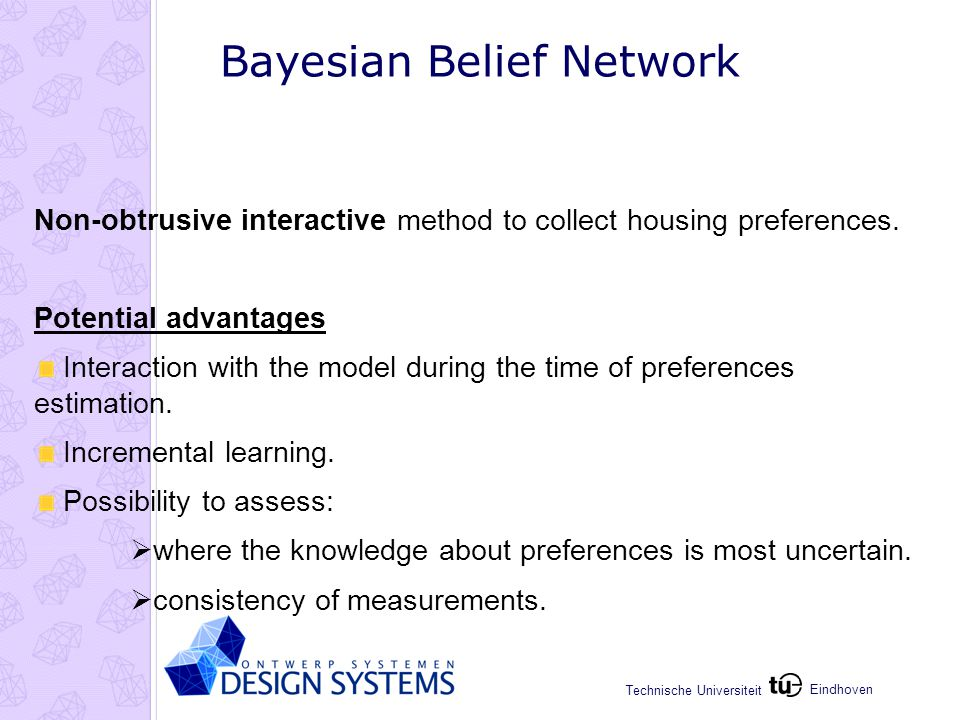 Eindhoven Technische Universiteit Bayesian Belief Network Non-obtrusive interactive method to collect housing preferences.
