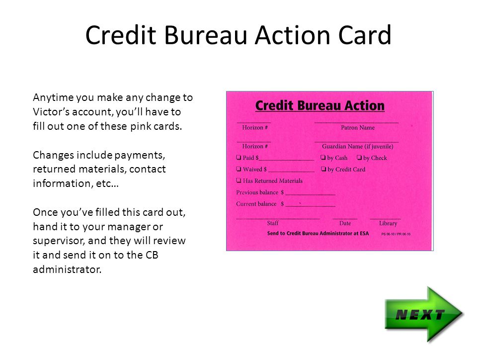 Anytime you make any change to Victor's account, you'll have to fill out one of these pink cards.