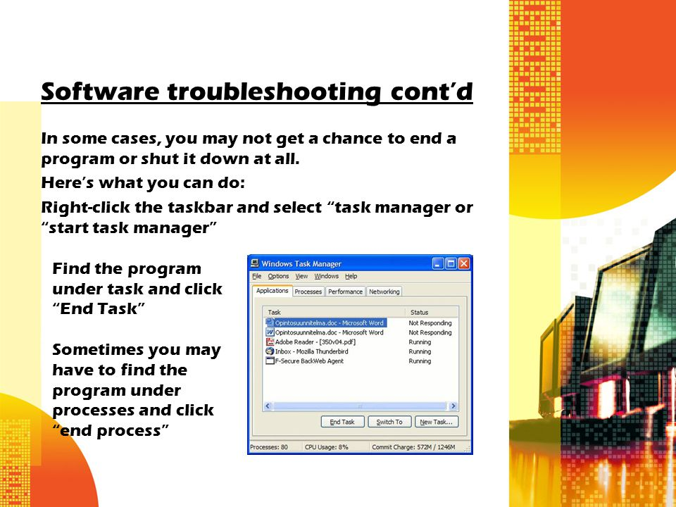 Software troubleshooting cont'd In some cases, you may not get a chance to end a program or shut it down at all.