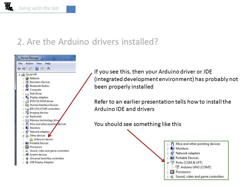 living with the lab If you see this, then your Arduino driver or IDE (integrated development environment) has probably not been properly installed Ref