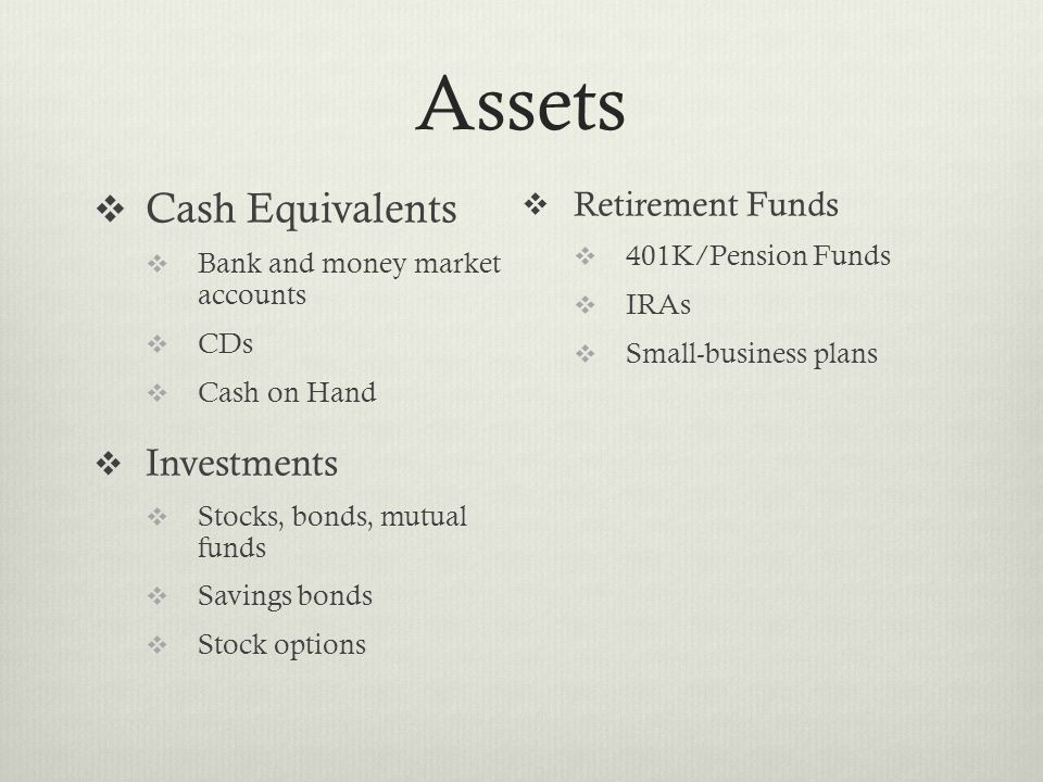 Assets  Cash Equivalents  Bank and money market accounts  CDs  Cash on Hand  Investments  Stocks, bonds, mutual funds  Savings bonds  Stock options  Retirement Funds  401K/Pension Funds  IRAs  Small-business plans