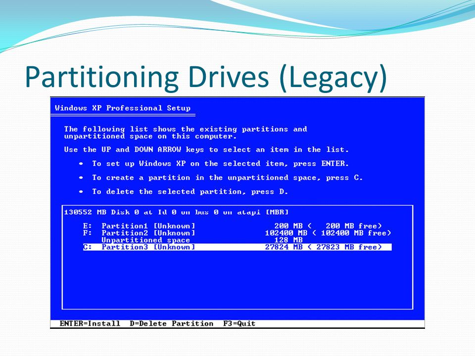 Partitioning Drives (Legacy)