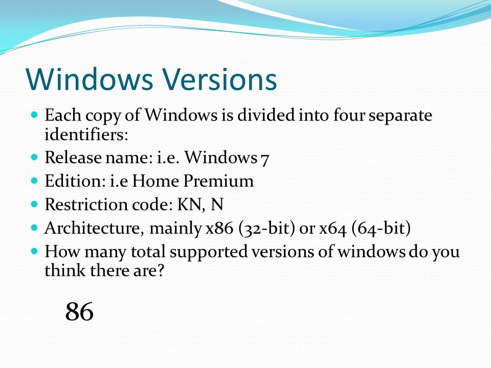 Partition Structures (2) What OS can read and write to which partition structures.