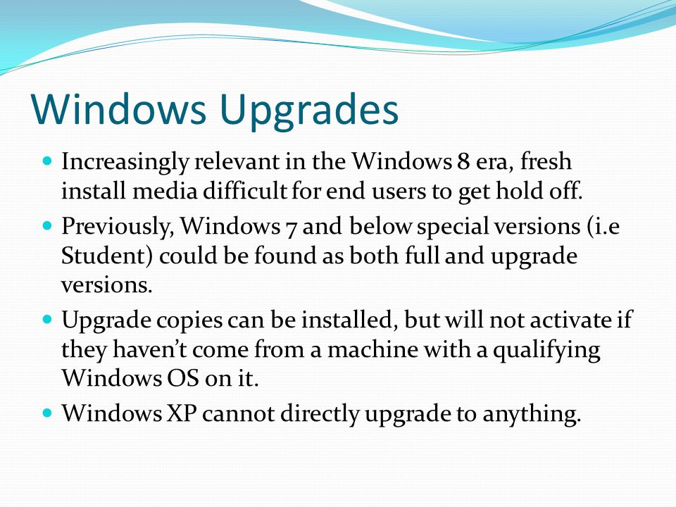 Upgrade or Custom Install To quote Microsoft: An upgrade installation replaces your current version and your files, settings, programmes and kept in place on your PC.
