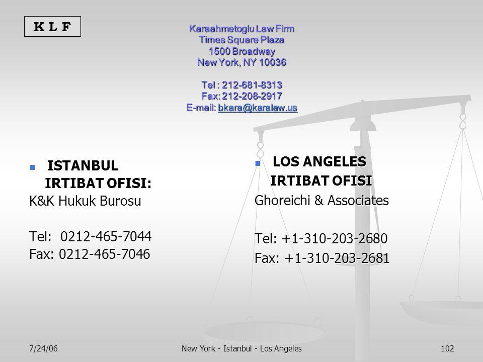 K L F 7/24/06New York - Istanbul - Los Angeles102 Karaahmetoglu Law Firm Times Square Plaza 1500 Broadway New York, NY 10036 Tel : 212-681-8313 Fax: 212-208-2917 E-mail: bkara@karalaw.us bkara@karalaw.us ISTANBUL ISTANBUL IRTIBAT OFISI: IRTIBAT OFISI: K&K Hukuk Burosu Tel: 0212-465-7044 Fax: 0212-465-7046 LOS ANGELES IRTIBAT OFISI Ghoreichi & Associates Tel: +1-310-203-2680 Fax: +1-310-203-2681