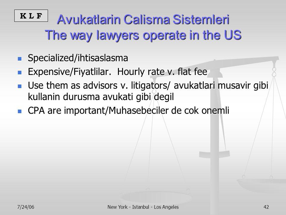 K L F 7/24/06New York - Istanbul - Los Angeles42 Avukatlarin Calisma Sistemleri The way lawyers operate in the US Specialized/ihtisaslasma Specialized/ihtisaslasma Expensive/Fiyatlilar.