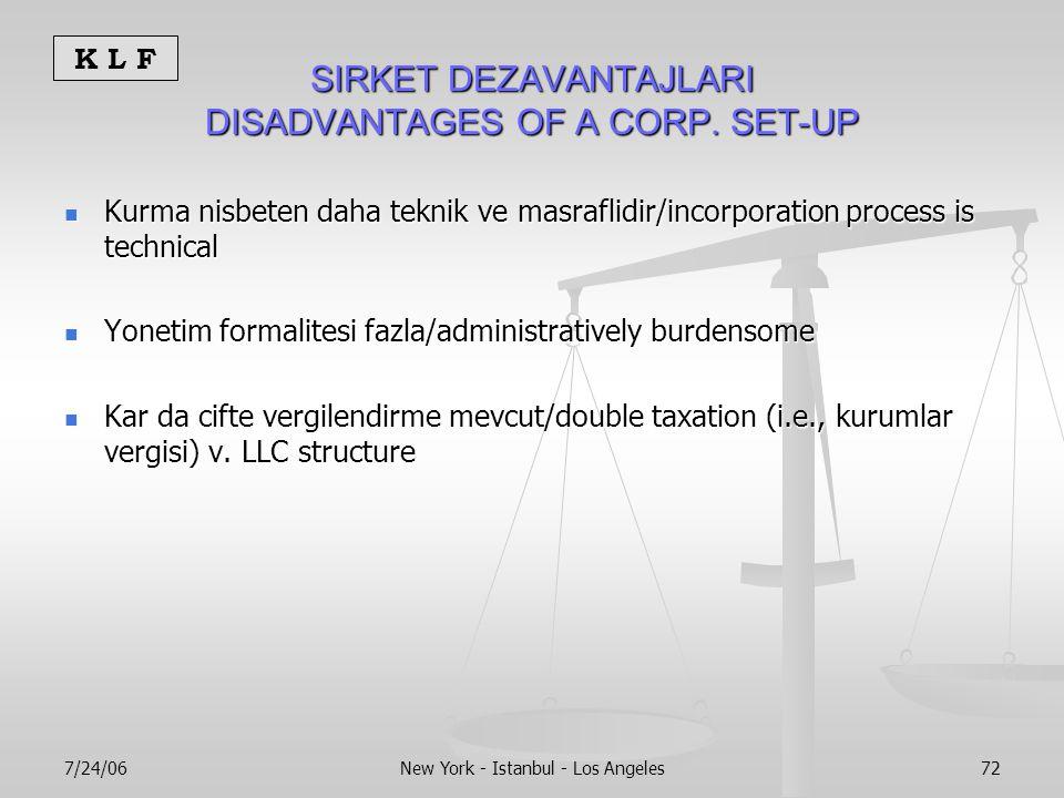 K L F 7/24/06New York - Istanbul - Los Angeles72 SIRKET DEZAVANTAJLARI DISADVANTAGES OF A CORP.
