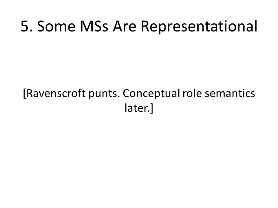 5. Some MSs Are Representational [Ravenscroft punts. Conceptual role semantics later.]