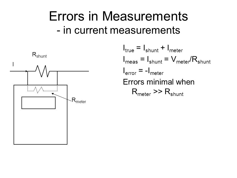 Errors in Measurements - in current measurements I true = I shunt + I meter I meas = I shunt = V meter /R shunt I error = -I meter Errors minimal when
