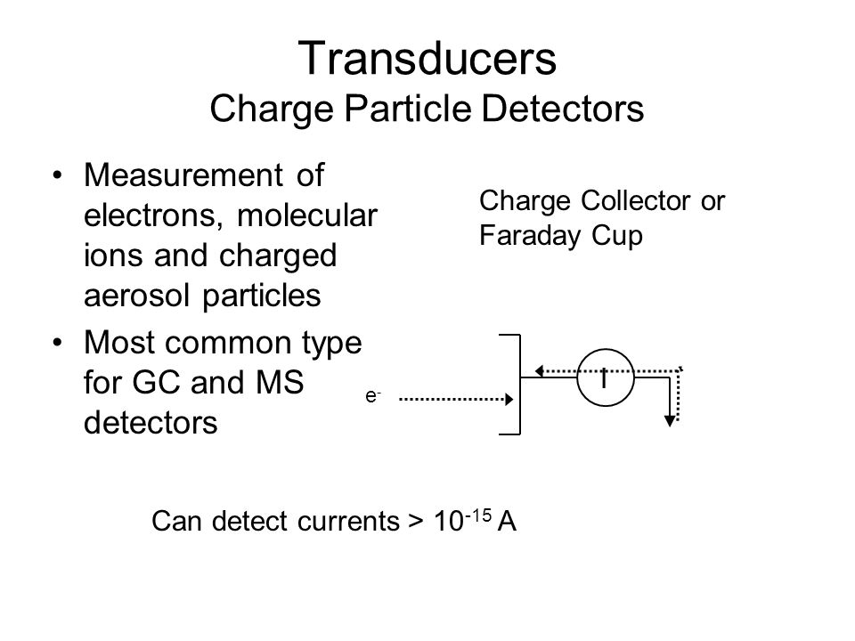 Transducers Charge Particle Detectors Measurement of electrons, molecular ions and charged aerosol particles Most common type for GC and MS detectors Charge Collector or Faraday Cup I e-e- Can detect currents > 10 -15 A