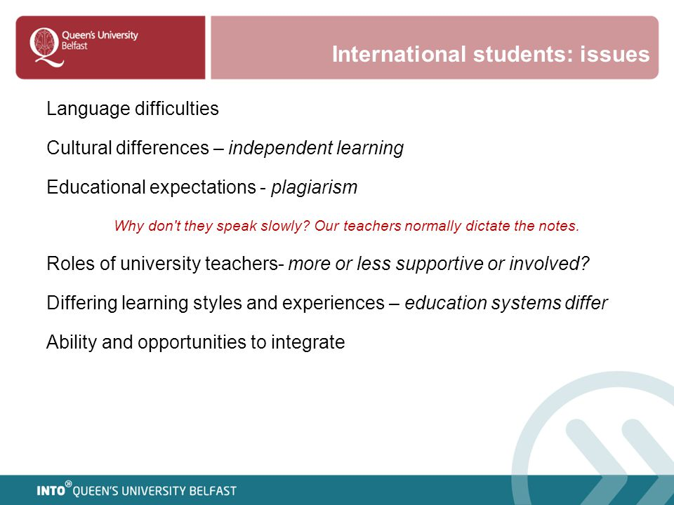 International students: issues Language difficulties Cultural differences – independent learning Educational expectations - plagiarism Why don't they