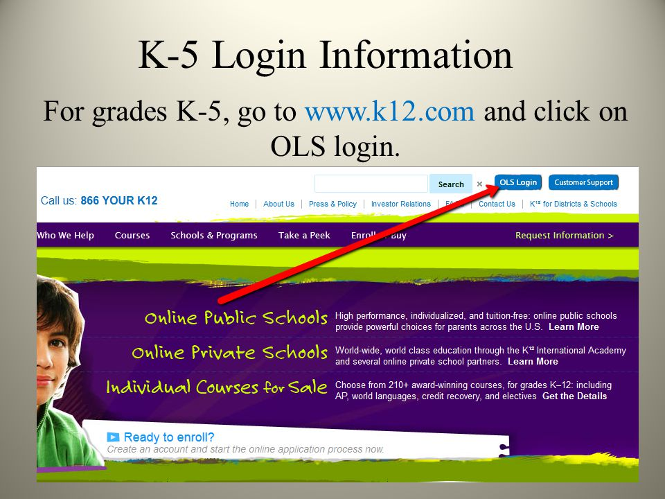 K-5 Login First time users will click on Set Up Your Account. To set up your account, you need the registration number that was emailed to you welcoming you to K12.