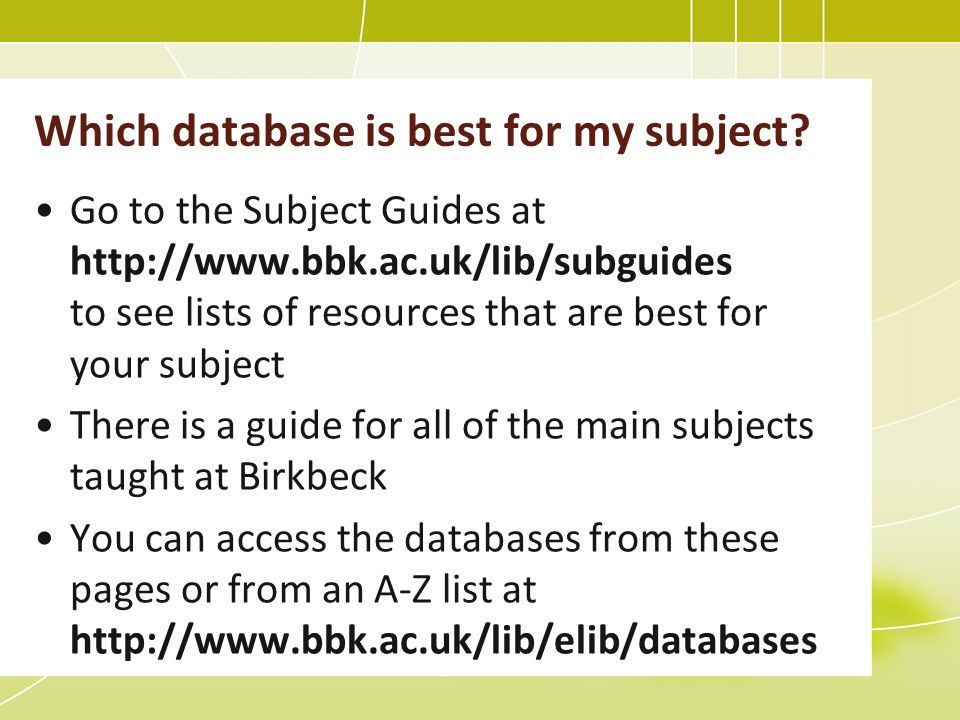 Which database is best for my subject.