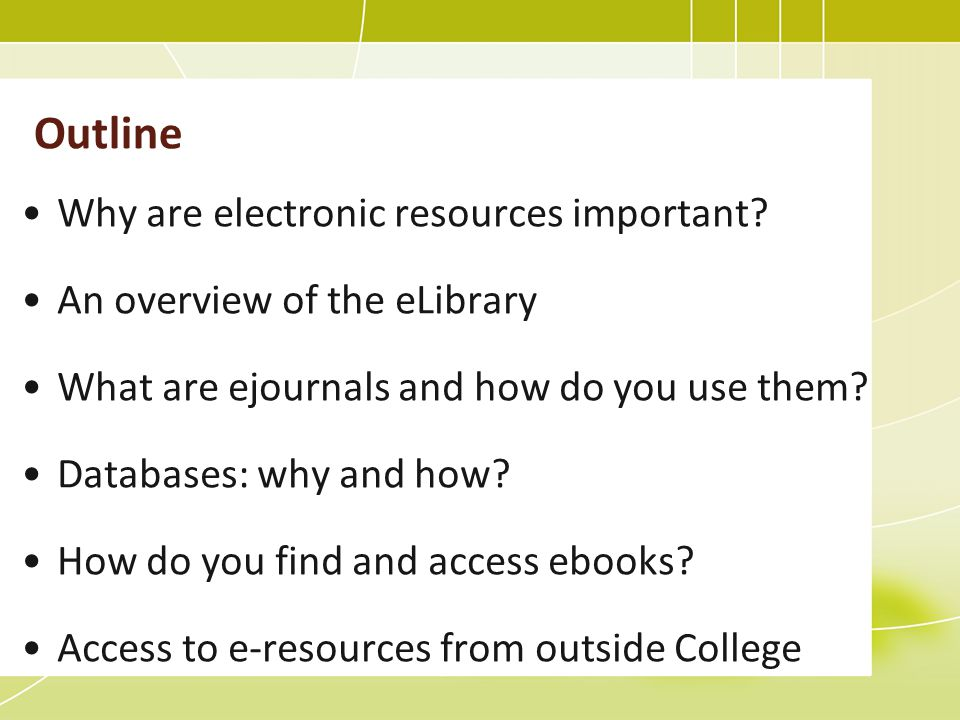 Access e-resources from outside College Register your computer by setting up a cookie Necessary for access to some e-resources One-off process Lasts 18 months Login in with your ITS username and password See http://www.bbk.ac.uk/lib/elib
