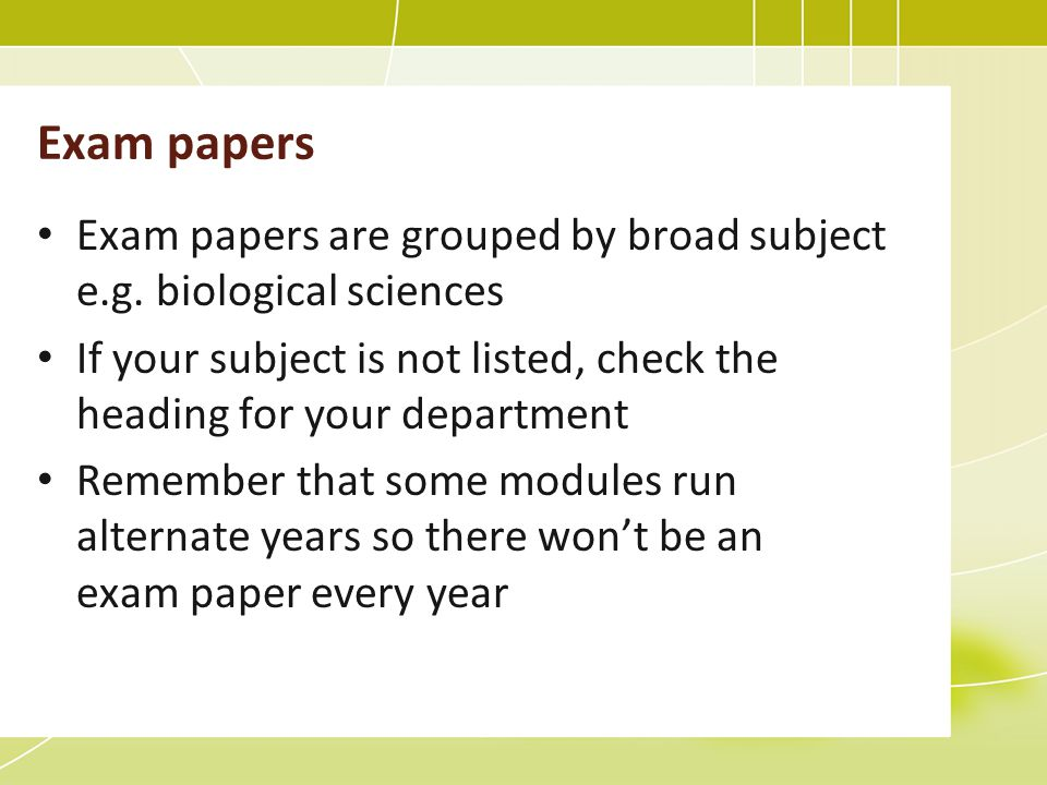 Exam papers are grouped by broad subject e.g.