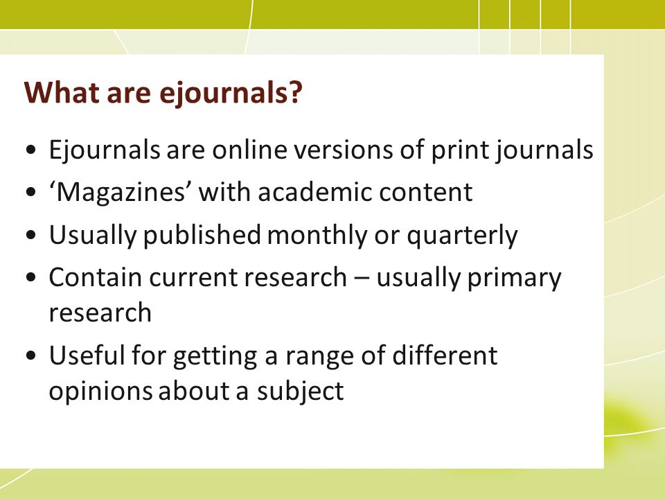 What are ejournals.