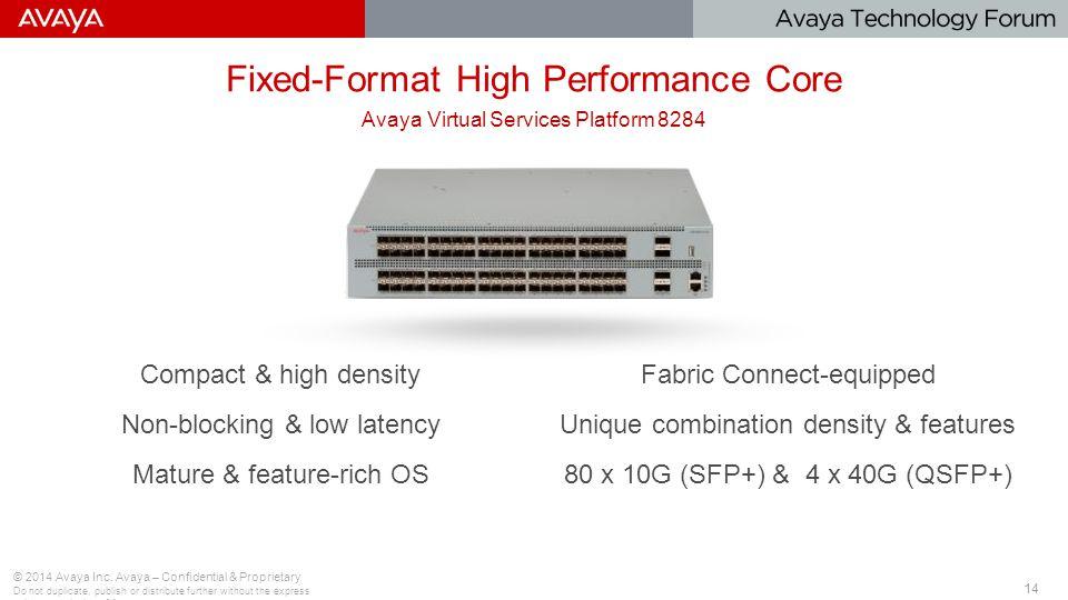 14 Fixed-Format High Performance Core © 2014 Avaya Inc.