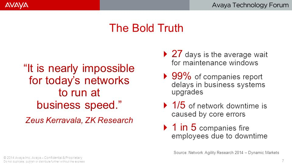 7 © 2014 Avaya Inc. Avaya – Confidential & Proprietary Do not duplicate, publish or distribute further without the express written permission of Avaya