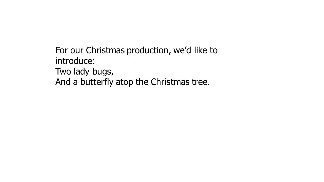 For our Christmas production, we'd like to introduce: Two lady bugs, And a butterfly atop the Christmas tree.