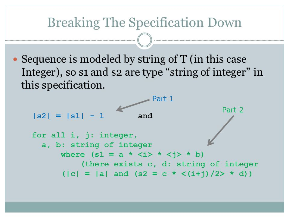 "Breaking The Specification Down Sequence is modeled by string of T (in this case Integer), so s1 and s2 are type ""string of integer"" in this specifica"