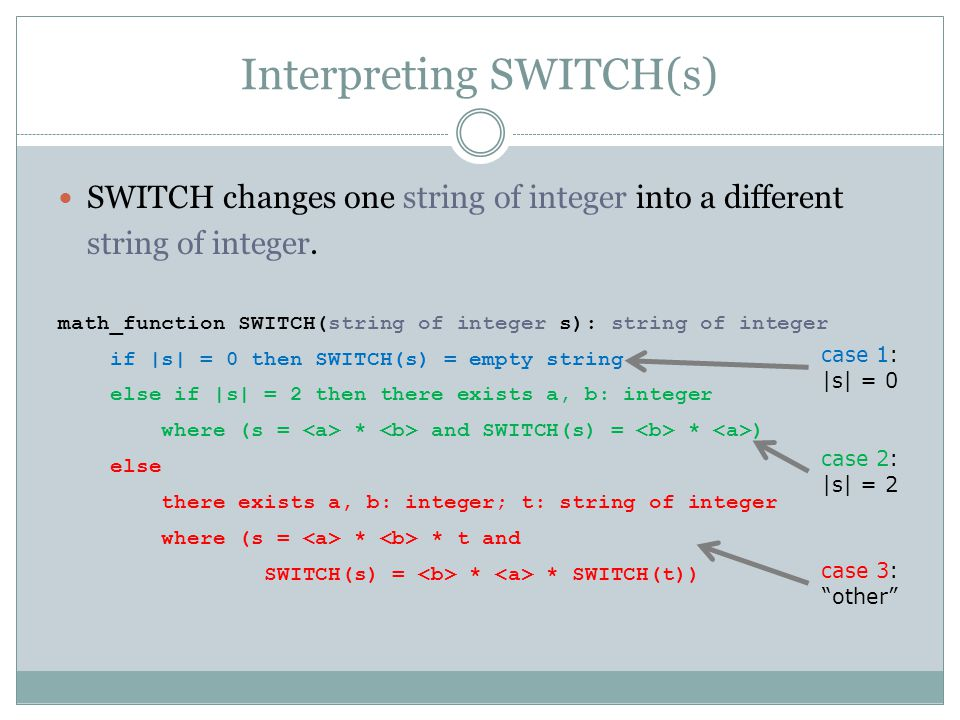Interpreting SWITCH(s) SWITCH changes one string of integer into a different string of integer. math_function SWITCH(string of integer s): string of i