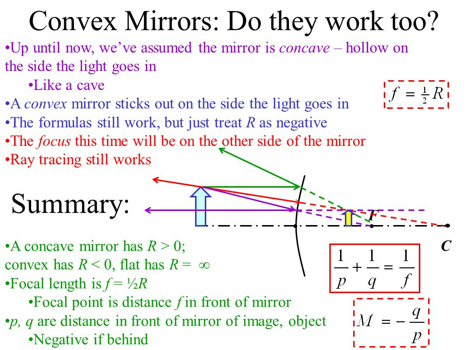 Spherical Mirrors: Finding the Image C V The ray through the center comes straight back The ray at the vertex reflects at same angle it hits Define some distances: h P X h' Q Y Magnification Since image upside down, treat h' as negative