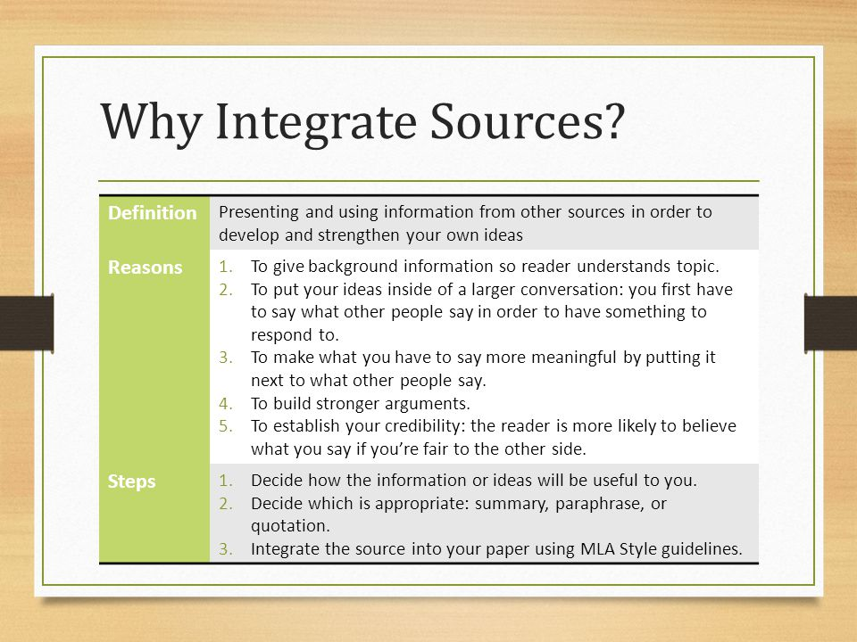 Incorporate Information: Quotation Use quotation when you want to include exactly what a source says without making any style, word, or other changes.