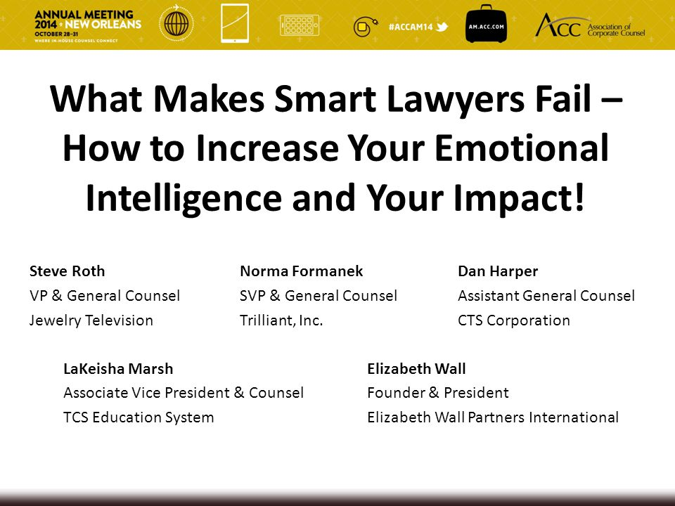 What Makes Smart Lawyers Fail – How to Increase Your Emotional Intelligence and Your Impact! Steve Roth Norma Formanek Dan Harper VP & General Counsel