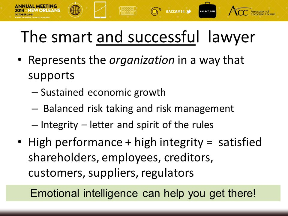 The smart and successful lawyer Represents the organization in a way that supports – Sustained economic growth – Balanced risk taking and risk managem