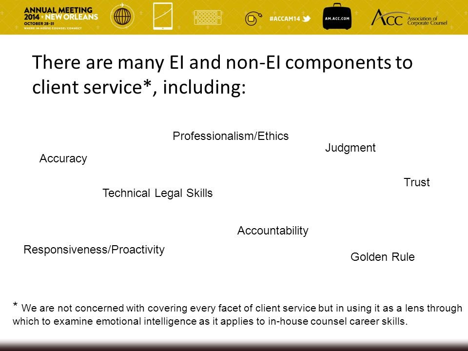 There are many EI and non-EI components to client service*, including: Accuracy Judgment Technical Legal Skills Professionalism/Ethics Golden Rule Acc