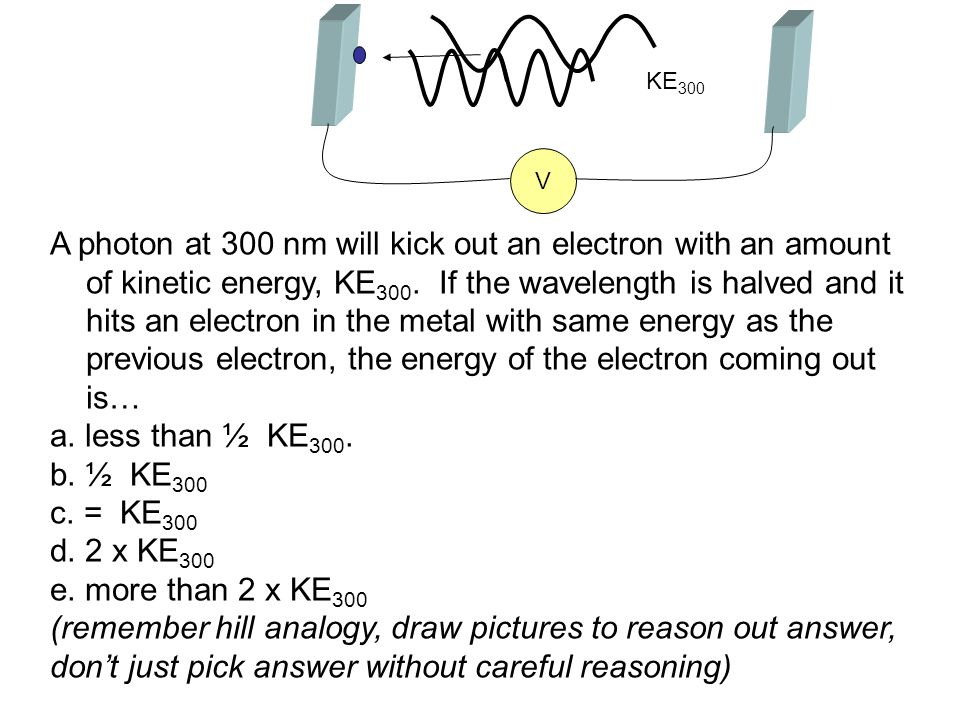A photon at 300 nm will kick out an electron with an amount of kinetic energy, KE 300. If the wavelength is halved and it hits an electron in the meta