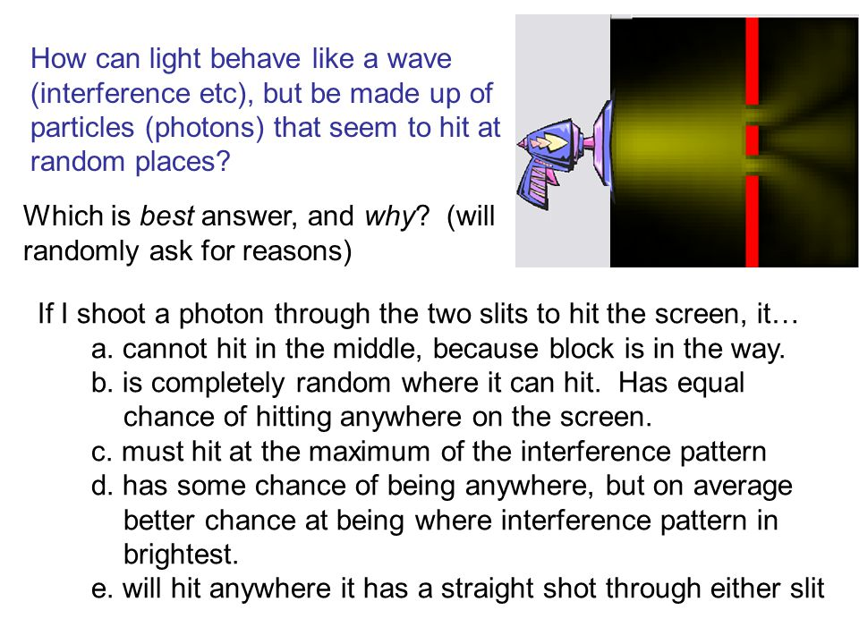 How can light behave like a wave (interference etc), but be made up of particles (photons) that seem to hit at random places? If I shoot a photon thro