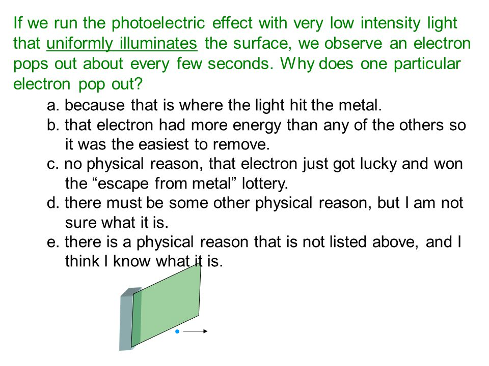 If we run the photoelectric effect with very low intensity light that uniformly illuminates the surface, we observe an electron pops out about every f