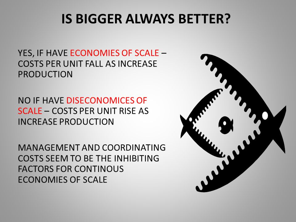 IS BIGGER ALWAYS BETTER? YES, IF HAVE ECONOMIES OF SCALE – COSTS PER UNIT FALL AS INCREASE PRODUCTION NO IF HAVE DISECONOMICES OF SCALE – COSTS PER UN