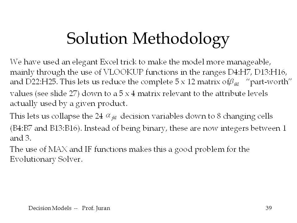 Decision Models -- Prof. Juran39 Solution Methodology